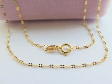 New Au750 Pure 18K Yellow Gold Necklace Four Leaf Clover Link Chain 16.5inch