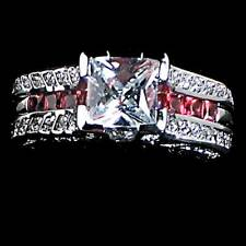 PRINCESS CLEAR CZ simulated RUBY WEDDING SET_SZ-10__925 STERLING SILVER