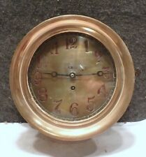 """Antique Ashcroft Nautical Maritime Brass Ship Clock 10"""" Dia In Working condition"""