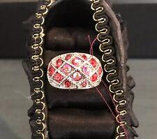Adjustable Red Rhinestone Ring
