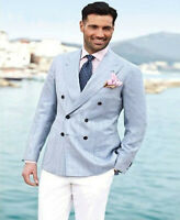 Linen Summer Men's Suit Tuxedos Double Breasted White Pants Formal Groom Custom