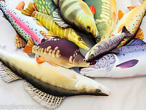 Fish Pillows / Carp, Cod, Pike, Salmon, Flounder / Fishing Pillow