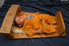 Native American Comanche Indian Plaster Baby Doll and Cradleboard -Signed
