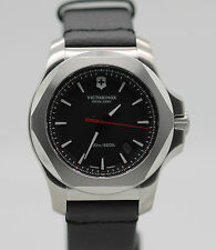 New Victorinox Swiss Army Inox Black Leather Strap Mens Watch 241737.1