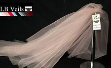 Pink Blush Veil Any Length Wedding 2 Tier Plain Long Short LB Veils LBV156 UK