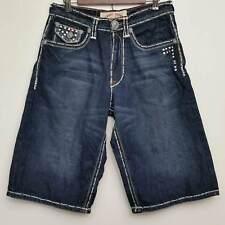 "Laguna Beach Mens Denin Shorts 32"" Dark Wash Bling Studs Skulls Embellished"