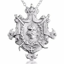 Sacred Heart of Jesus Shield Charm Pendant #925 Sterling Silver #Azaggi P0132S
