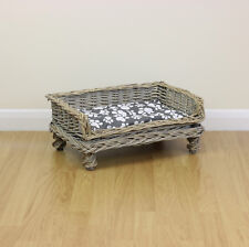 Extra Small Raised Woven Wicker Pet Bed Basket Shabby Chic Kitten/Cat/Puppy/Dog
