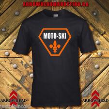 Moto Ski t-shirt with vintage style logo - full chest Triangle Black