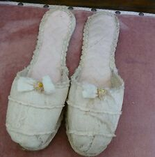 Antique Victorian Stunning Rare Lace Wedding Slippers Shoes