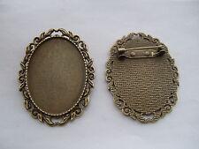 3 Antique Bronze Blanks Cabochon Bezel Settings Base 30x40mm Brooch Pins