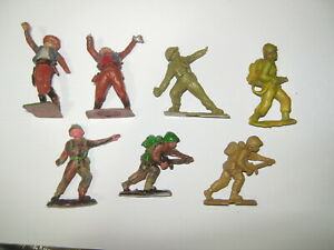 Cherilea toy soldiers 7 in 6 poses 1950'/60's damaged tips spare or repairs.