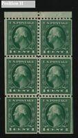1916 Washington 1c green Sc 462a MNH booklet pane Position H
