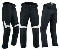 Mens Motorbike Motorcycle Textile Pants Trousers Armoured Waterproof Black Grey