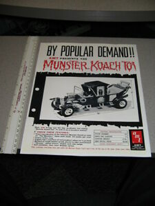 MUNSTERS KOACH TOY AMT 1960s TV show hot rod hearse REPRO ad sheet