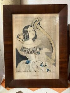 """ANTIQUE LITHOGRAPH """"LYDIA"""" NATHANIEL CURRIER, FRAMED"""