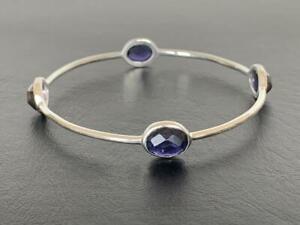 925 Sterling Silver Iolite Bangle Bracelet Gemstones Semi Precious Faceted Gems