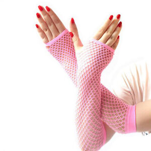 Lace Mesh Fishnet Gloves Ladies Sexy Dance Costume Party Fingerless Long Mittens