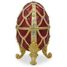 Golden Trellis Crimson Enamel Royal Inspired Russian Egg 4 Inches