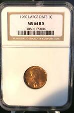 1960 Lincoln Large Date 1 Cent Penny NGC Certified MS 64 RD Coin