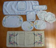 10 Vintage Embroidered & Crochet Flower Linen Doilies & Table Runners Daisy
