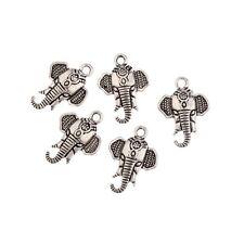 Elephant Head Beads Tibetan Silver Charms Pendant DIY Bracelet 18*16mm 10pcs