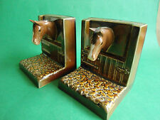 VINTAGE SYLVAC BOOKENDS BOOK ENDS HORSES LOOKING THROUGH STABLE DOORS