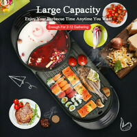 110V 2 In1 Electric Barbecue Pan Grill Teppanyaki Cook BBQ Oven Hot Pot Kitchen