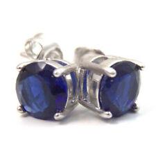 Unique 2 ct Brilliant Sapphire Diamond Solitaire Stud Earrings 14K White Gold Fn
