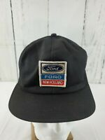 VINTAGE FORD NEW HOLLAND PATCH SNAPBACK MESH TRUCKER HAT BLACK K PRODUCTS USA