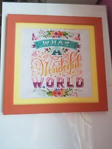 Inspirational Quote Cross Stitch Picture Art Handmade What a Wonderful World