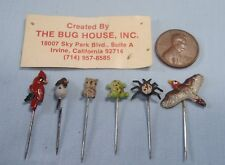 Vintage mini hand painted enamel animal pins stick hat 1960s new old stock ee