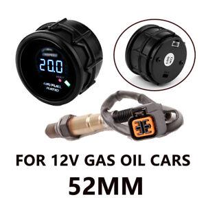 52MM/2'' GAS OIL CAR 12V DIGITAL AIR FUEL RATIO GAUGE KIT WITH O2 OXYGEN SENSOR