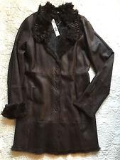*NWT* ELIE TAHARI Dark Brown Leather & Fur Trimmed/Lined Coat ~ Medium ~ $2,498