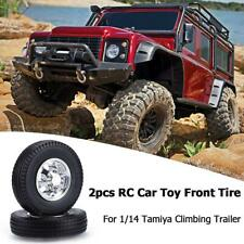 2pcs RC Car Toys Rubber Front Wheel Truck Tire for 1/14 Tamiya Climbing Trailer