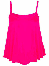 Womens Plain Swing Vest Top Plus Size New Sleeveless Top Strap Cami Flared 8-26