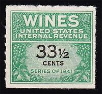 US Wine Revenue #RE188 Unused 33½¢ 1951 Catalog Value=$35
