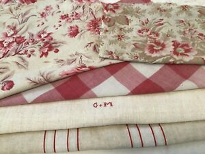 Antique Vintage French Fabric Coordinates bundles for sewing projects Floral