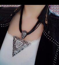 Fashion Black Leather Pendant Necklace