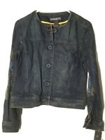 Liz Claiborne Jean Jacket Sz Small Womens Embroidered Long Sleeve B38 L21 $99