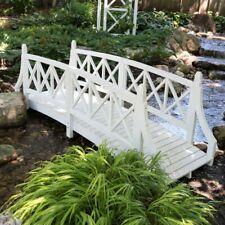 New listing Durable White 8ft Canadian Hemlock Garden Bridge