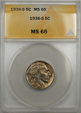 1936-S Buffalo Nickel 5C Coin ANACS MS-65 (10)