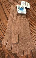 Portolano women's gloves 100% cashmere knit fingerless wrist one size beige NWT