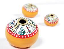 Handmade Terracotta Flower Vase With Hand Painting Best For Gift Set Of 3 - 023