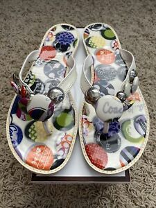 NEW IN BOX Womens Coach Multicolored Button Flip Flops, Size 8