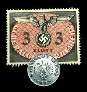 Rare Old WWII German War 1 Rp Coin & 3 Zolty Stamp World War 2 Artifacts