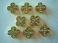 2 Hole Slider Beads 4 Leaf Clover Gold & Clear Swarovski Elements 8 Pieces