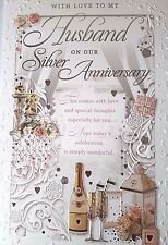25th Silver Wedding Anniversary Card - Love Husband - FREE 1ST CLASS POSTAGE
