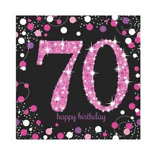 16 x Pink Celebration Age 70 Napkins Pink & Black 70th Birthday Napkins FREE P&P