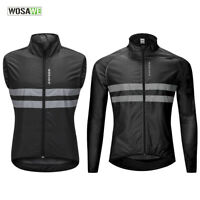 Mens Cycling Jacket Windproof MTB Bike Vest Breathable Jersey Reflective Coat